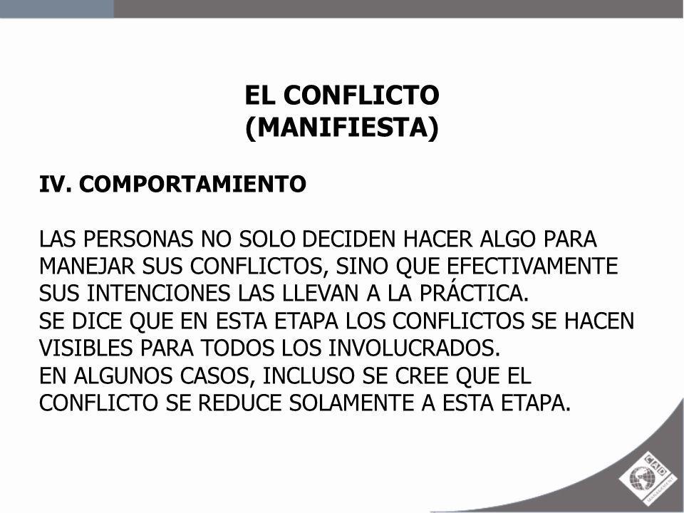 EL CONFLICTO (MANIFIESTA) IV. COMPORTAMIENTO LAS PERSONAS NO SOLO DECIDEN HACER ALGO PARA MANEJAR SUS CONFLICTOS, SINO QUE EFECTIVAMENTE SUS INTENCION