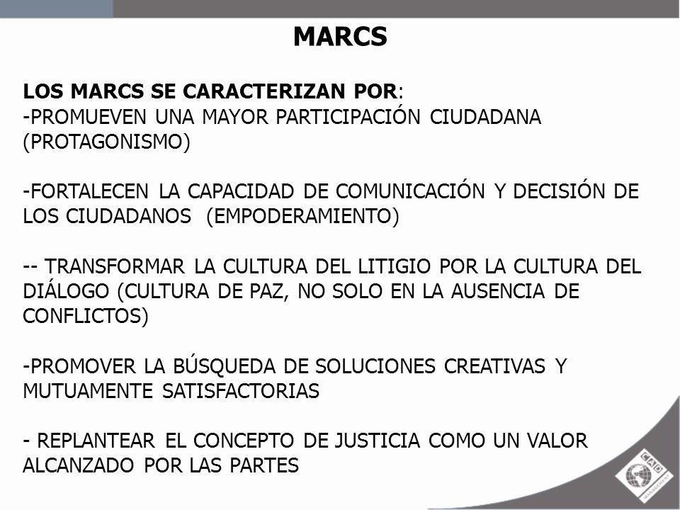 MARCS LOS MARCS SE CARACTERIZAN POR: -PROMUEVEN UNA MAYOR PARTICIPACIÓN CIUDADANA (PROTAGONISMO) -FORTALECEN LA CAPACIDAD DE COMUNICACIÓN Y DECISIÓN D