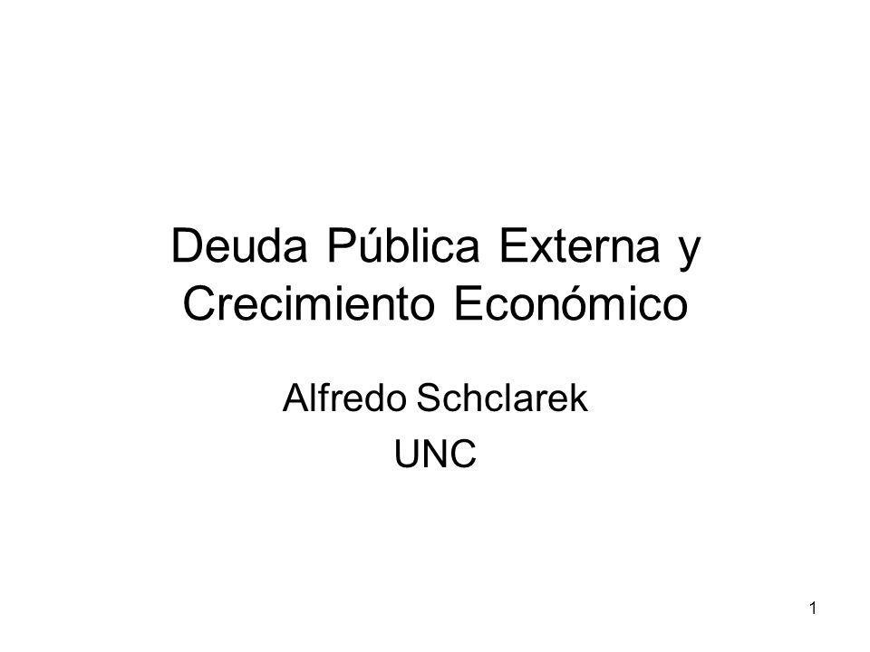 22 Resultados Para países industriales: –Ninguna relación entre deuda pública y crecimiento económico.