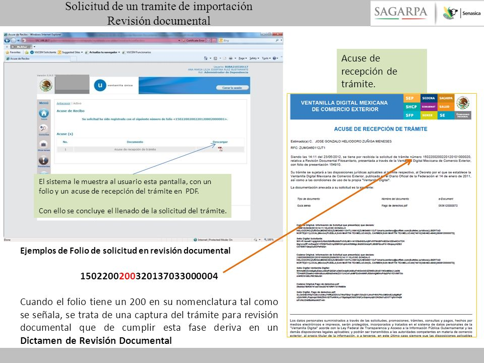 El sistema le muestra al usuario esta pantalla, con un folio y un acuse de recepción del trámite en PDF. Con ello se concluye el llenado de la solicit