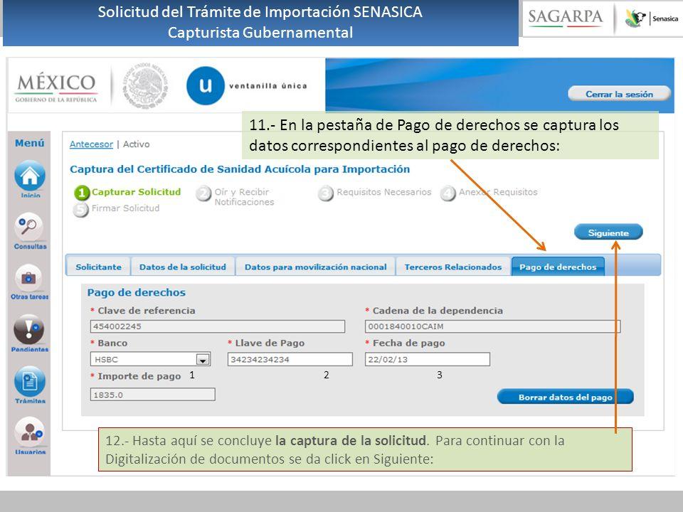11.- En la pestaña de Pago de derechos se captura los datos correspondientes al pago de derechos: 1 23 12.- Hasta aquí se concluye la captura de la solicitud.