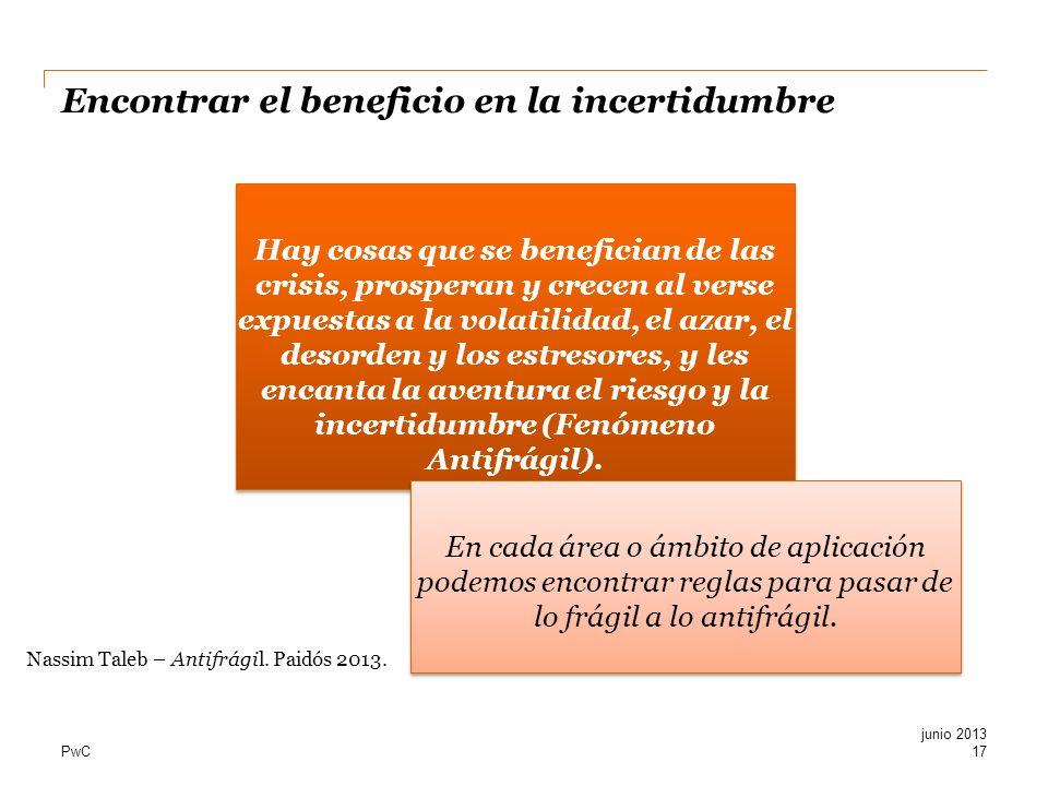 PwC Encontrar el beneficio en la incertidumbre 17 junio 2013 Hay cosas que se benefician de las crisis, prosperan y crecen al verse expuestas a la vol