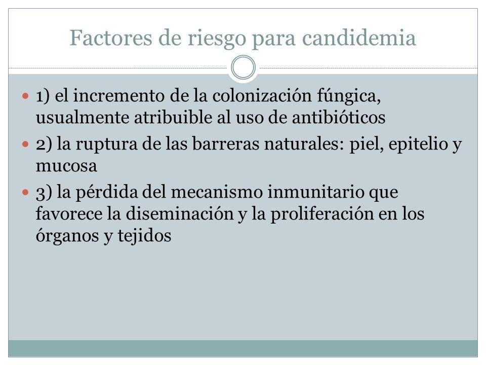 Factores de riesgo para candidemia 1) el incremento de la colonización fúngica, usualmente atribuible al uso de antibióticos 2) la ruptura de las barr