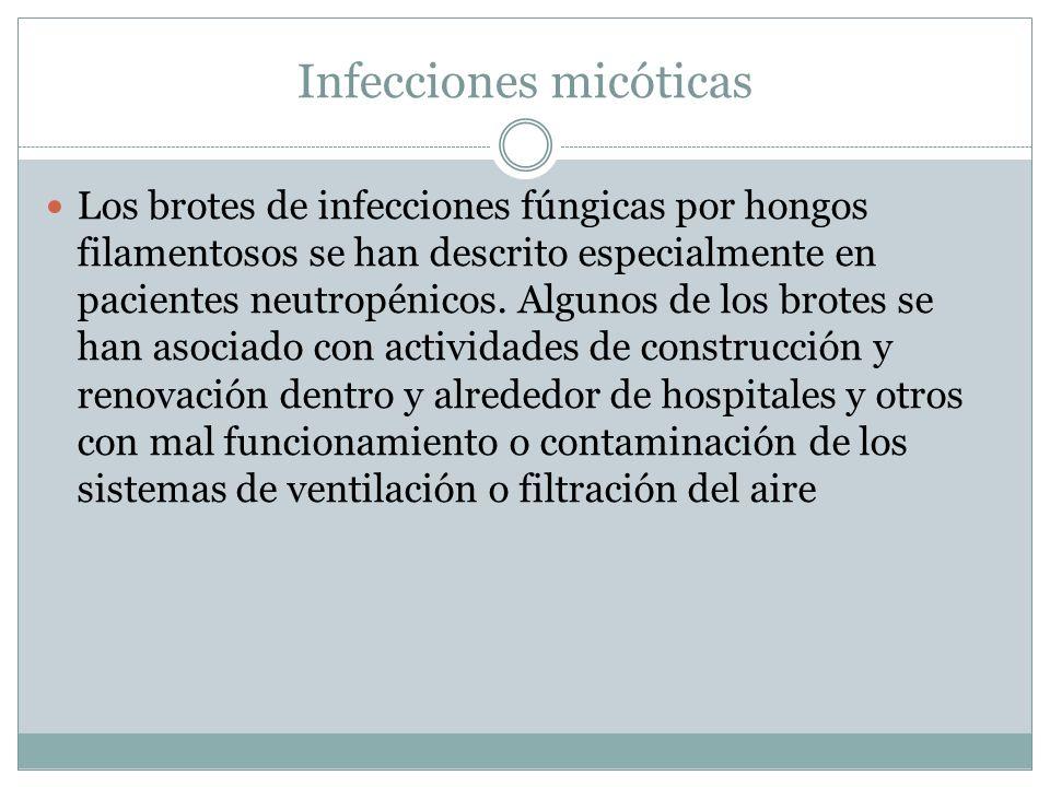 Infecciones micóticas Los brotes de infecciones fúngicas por hongos filamentosos se han descrito especialmente en pacientes neutropénicos. Algunos de