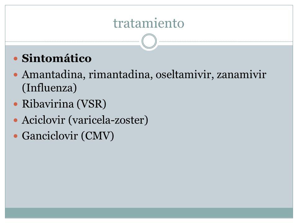 tratamiento Sintomático Amantadina, rimantadina, oseltamivir, zanamivir (Influenza) Ribavirina (VSR) Aciclovir (varicela-zoster) Ganciclovir (CMV)
