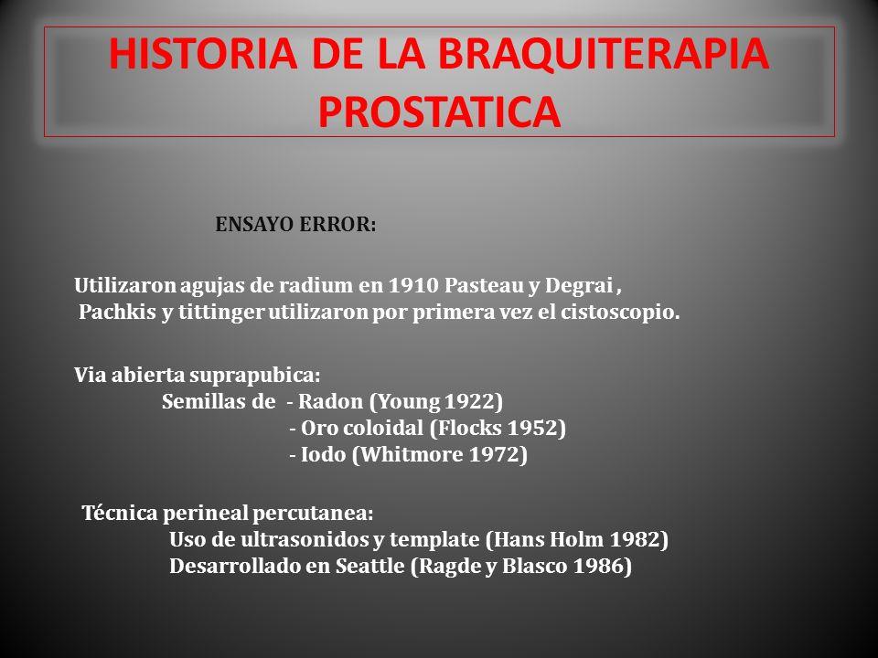 HISTORIA DE LA BRAQUITERAPIA PROSTATICA ENSAYO ERROR: Utilizaron agujas de radium en 1910 Pasteau y Degrai, Pachkis y tittinger utilizaron por primera vez el cistoscopio.