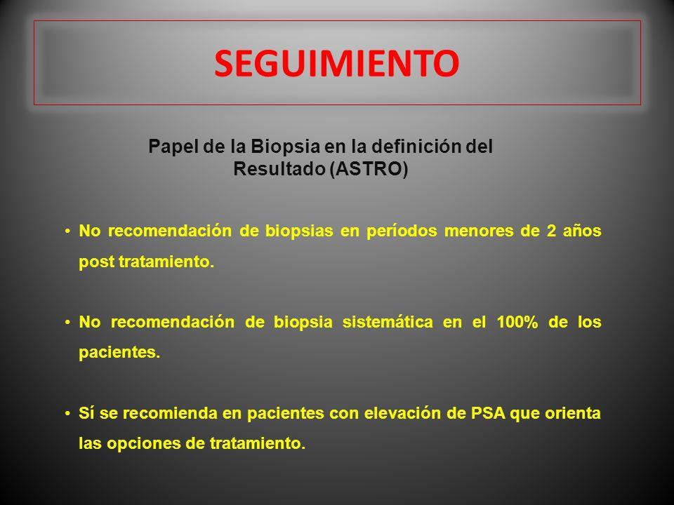 SEGUIMIENTO Papel de la Biopsia en la definición del Resultado (ASTRO) No recomendación de biopsias en períodos menores de 2 años post tratamiento. No
