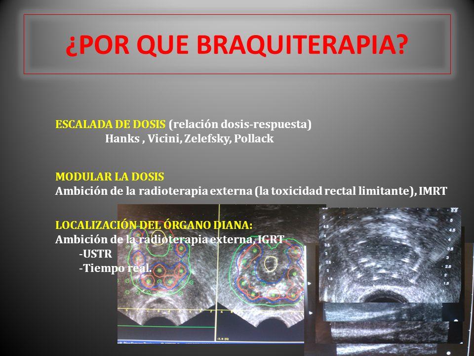 ¿POR QUE BRAQUITERAPIA? ESCALADA DE DOSIS (relación dosis-respuesta) Hanks, Vicini, Zelefsky, Pollack MODULAR LA DOSIS Ambición de la radioterapia ext