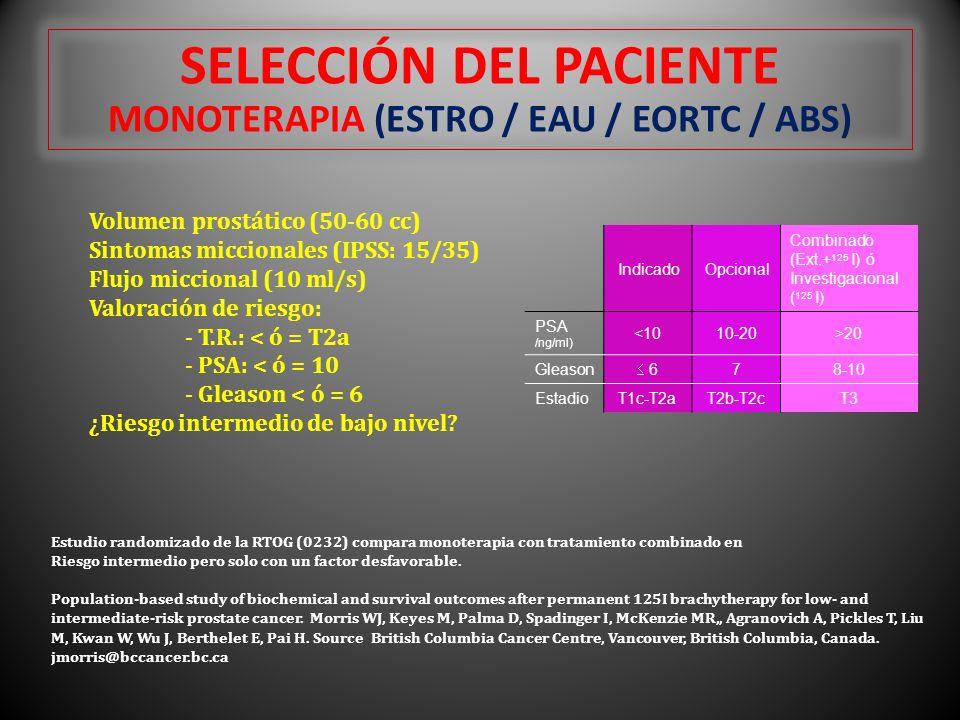 SELECCIÓN DEL PACIENTE MONOTERAPIA (ESTRO / EAU / EORTC / ABS) Volumen prostático (50-60 cc) Sintomas miccionales (IPSS: 15/35) Flujo miccional (10 ml/s) Valoración de riesgo: - T.R.: < ó = T2a - PSA: < ó = 10 - Gleason < ó = 6 ¿Riesgo intermedio de bajo nivel.