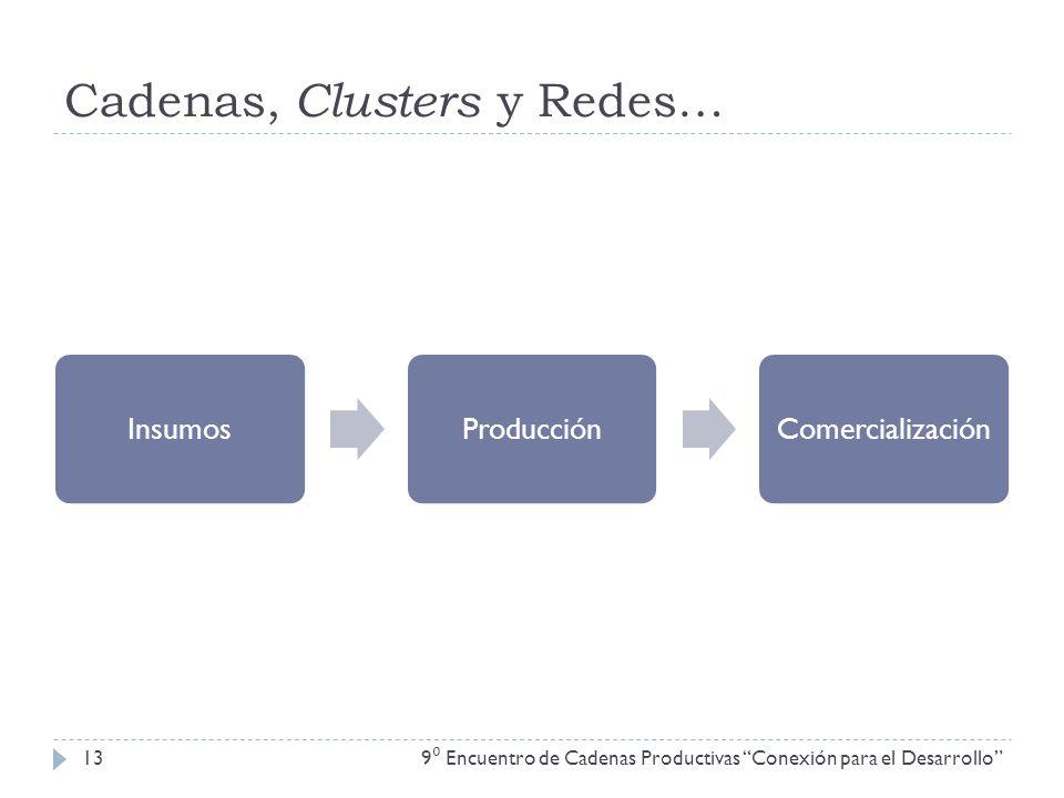 Cadenas, Clusters y Redes… 9 Encuentro de Cadenas Productivas Conexión para el Desarrollo 13 InsumosProducciónComercialización