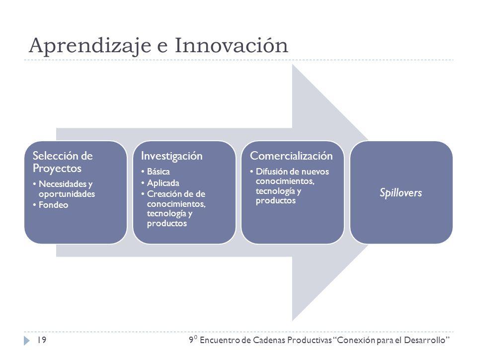 Aprendizaje e Innovación 9 Encuentro de Cadenas Productivas Conexión para el Desarrollo 19 Selección de Proyectos Necesidades y oportunidades Fondeo I