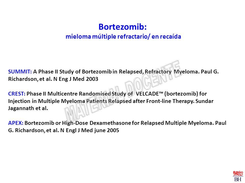 Bortezomib: mieloma múltiple refractario/ en recaída SUMMIT: A Phase II Study of Bortezomib in Relapsed, Refractory Myeloma. Paul G. Richardson, et al
