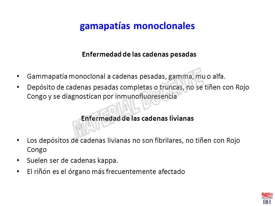 gamapatías monoclonales Enfermedad de las cadenas pesadas Gammapatía monoclonal a cadenas pesadas, gamma, mu o alfa. Depósito de cadenas pesadas compl
