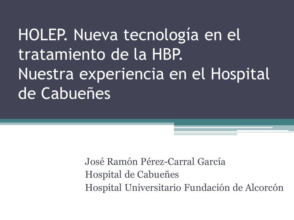 Complicaciones tardías HoLEP*: Esclerosis de cuello: 0 Estenosis uretral: 2 pacientes Reproducción de HBP: 1 paciente*