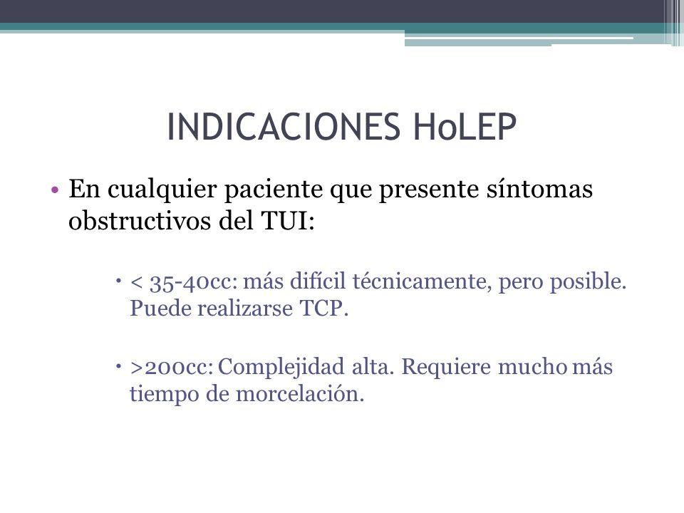 INDICACIONES HoLEP En cualquier paciente que presente síntomas obstructivos del TUI: < 35-40cc: más difícil técnicamente, pero posible.