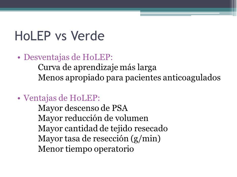 HoLEP vs Verde Desventajas de HoLEP: Curva de aprendizaje más larga Menos apropiado para pacientes anticoagulados Ventajas de HoLEP: Mayor descenso de PSA Mayor reducción de volumen Mayor cantidad de tejido resecado Mayor tasa de resección (g/min) Menor tiempo operatorio