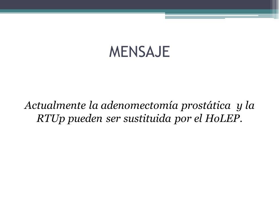 HoLEP vs Verde Ventajas HoLEP: Estudios a más largo plazo Varios estudios ramdomizados Aplicable a CUALQUIER tamaño Alternativa a la adenomectomía Resultados estadísticamente mejores que la RTU Obtención de anatomía patológica Multifuncional (prostata, tumores, estenosis, desinserciónes y litiasis en todo el tracto urinario)