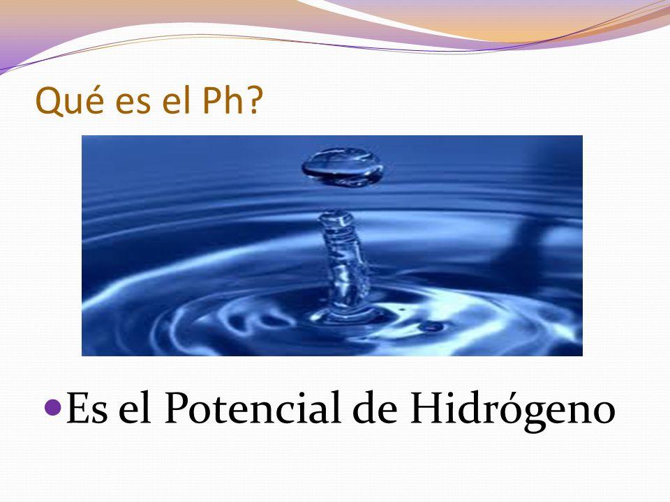Qué es el Ph? Es el Potencial de Hidrógeno