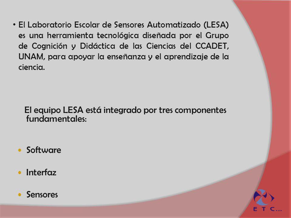 El equipo LESA está integrado por tres componentes fundamentales: Software Interfaz Sensores El Laboratorio Escolar de Sensores Automatizado (LESA) es