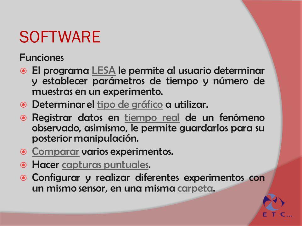 SOFTWARE Funciones El programa LESA le permite al usuario determinar y establecer parámetros de tiempo y número de muestras en un experimento.LESA Det