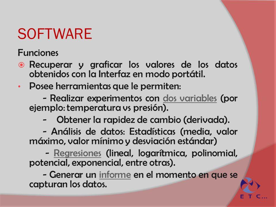 SOFTWARE Funciones Recuperar y graficar los valores de los datos obtenidos con la Interfaz en modo portátil. Posee herramientas que le permiten: - Rea