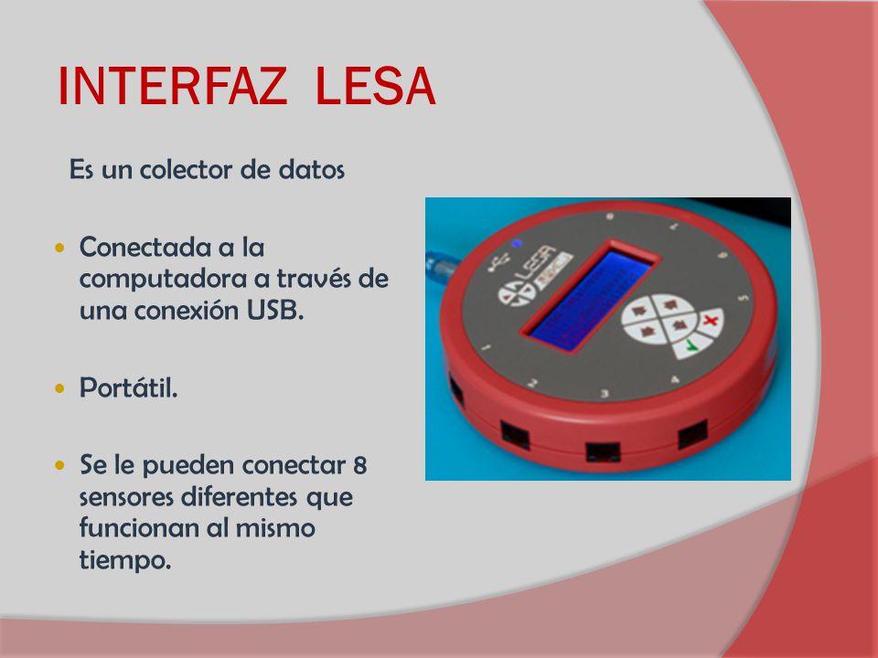 INTERFAZ LESA Es un colector de datos Conectada a la computadora a través de una conexión USB. Portátil. Se le pueden conectar 8 sensores diferentes q