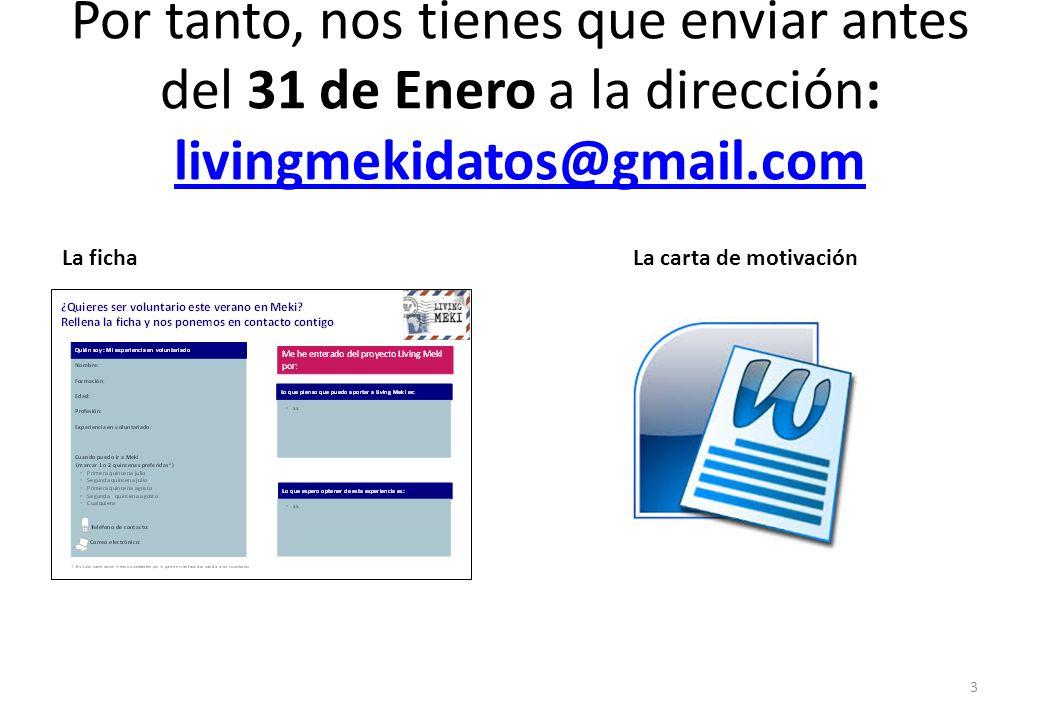 Por tanto, nos tienes que enviar antes del 31 de Enero a la dirección: livingmekidatos@gmail.com livingmekidatos@gmail.com 3 La fichaLa carta de motivación