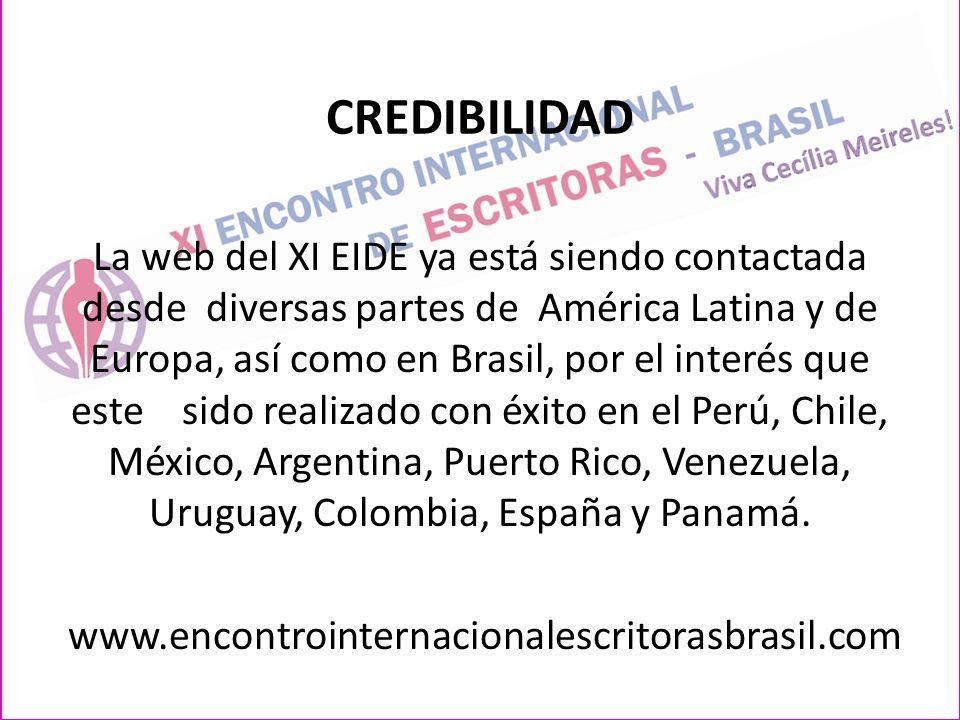CREDIBILIDAD La web del XI EIDE ya está siendo contactada desde diversas partes de América Latina y de Europa, así como en Brasil, por el interés que este sido realizado con éxito en el Perú, Chile, México, Argentina, Puerto Rico, Venezuela, Uruguay, Colombia, España y Panamá.