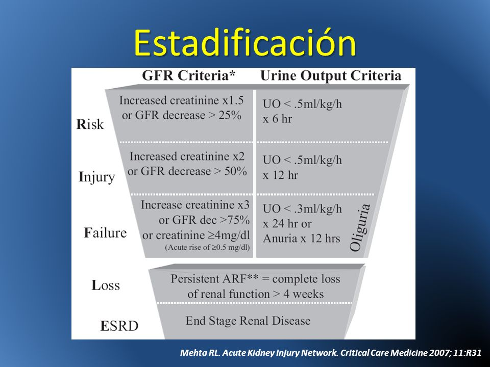 Estadificación Mehta RL. Acute Kidney Injury Network. Critical Care Medicine 2007; 11:R31