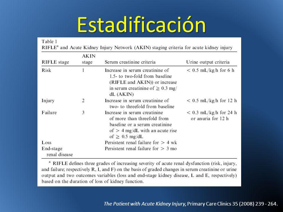 Reabsorción de NaEn la orina – Menor de 20 mEq/l – Excreción fraccionada de Na menor de 1% ADH – Oliguria, Concentración en la orina Osm >500 Claves