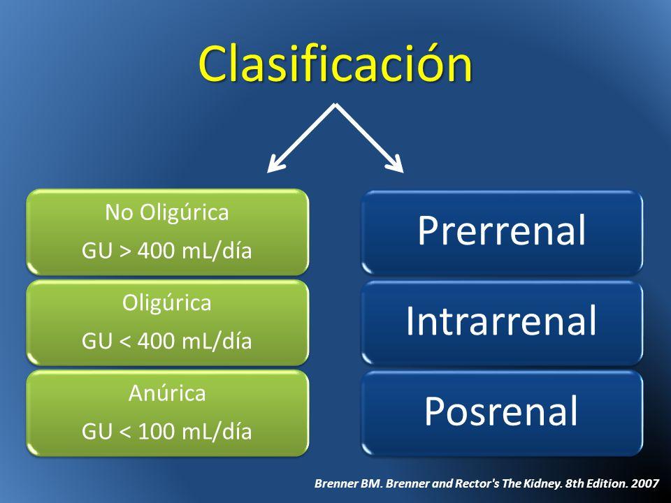 Clasificación No Oligúrica GU > 400 mL/día Oligúrica GU < 400 mL/día Anúrica GU < 100 mL/día Brenner BM. Brenner and Rector's The Kidney. 8th Edition.
