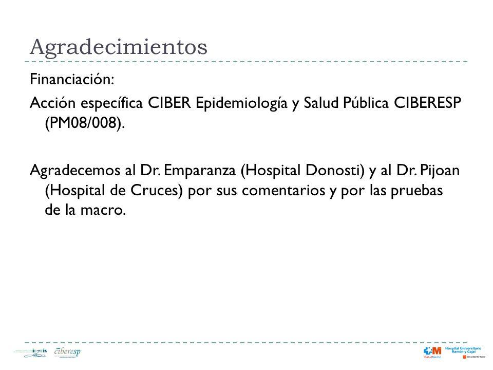 Agradecimientos Financiación: Acción específica CIBER Epidemiología y Salud Pública CIBERESP (PM08/008). Agradecemos al Dr. Emparanza (Hospital Donost