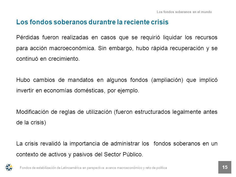Fondos de estabilización de Latinoamérica en perspectiva: avance macroeconómico y reto de política 15 Los fondos soberanos durantre la reciente crisis