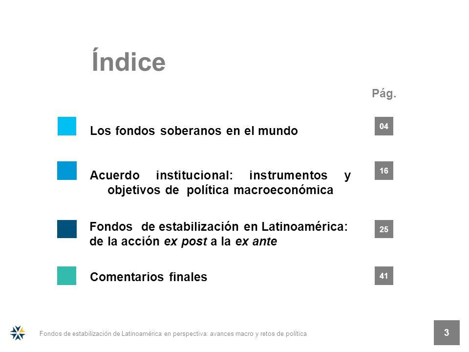 Pág. Índice 3 Fondos de estabilización de Latinoamérica en perspectiva: avances macro y retos de política 3 25 16 04 41 Fondos de estabilización en La