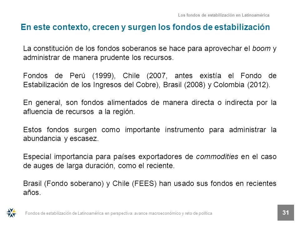 Fondos de estabilización de Latinoamérica en perspectiva: avance macroeconómico y reto de política 31 En este contexto, crecen y surgen los fondos de