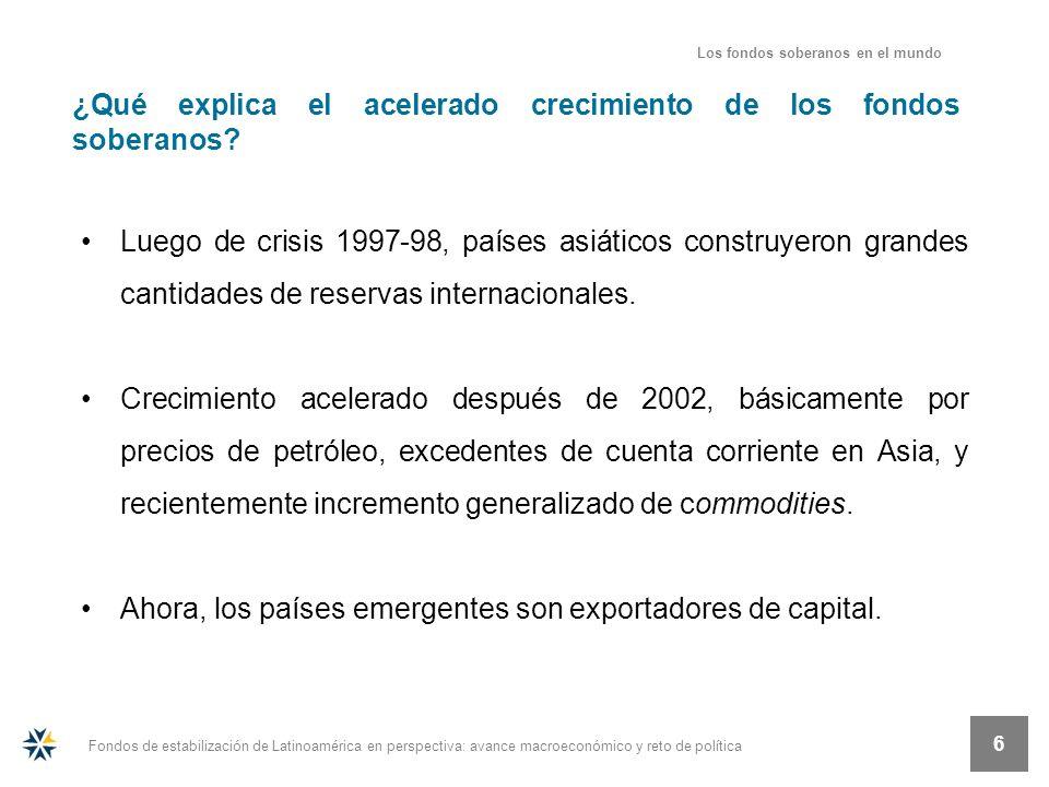 Fondos de estabilización de Latinoamérica en perspectiva: avance macroeconómico y reto de política 6 ¿Qué explica el acelerado crecimiento de los fond