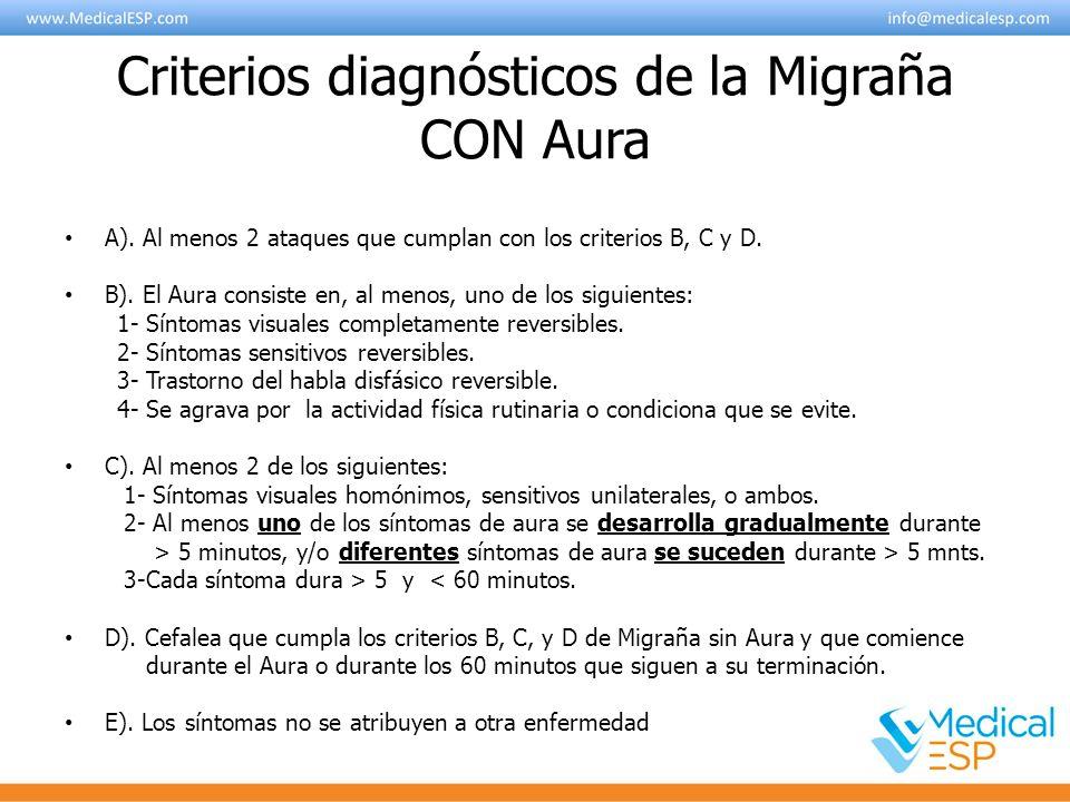 Criterios diagnósticos de la Migraña CON Aura A). Al menos 2 ataques que cumplan con los criterios B, C y D. B). El Aura consiste en, al menos, uno de