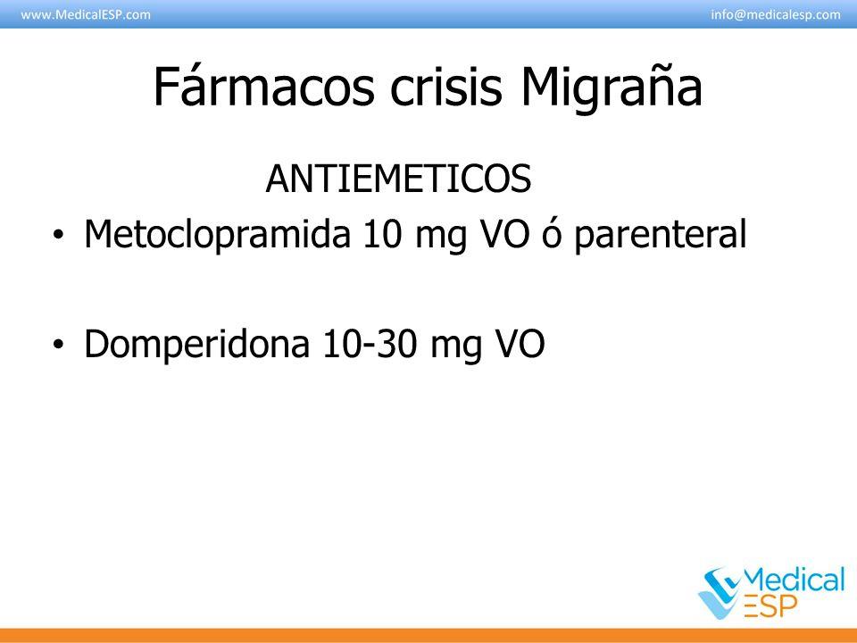 Fármacos crisis Migraña ANTIEMETICOS Metoclopramida 10 mg VO ó parenteral Domperidona 10-30 mg VO