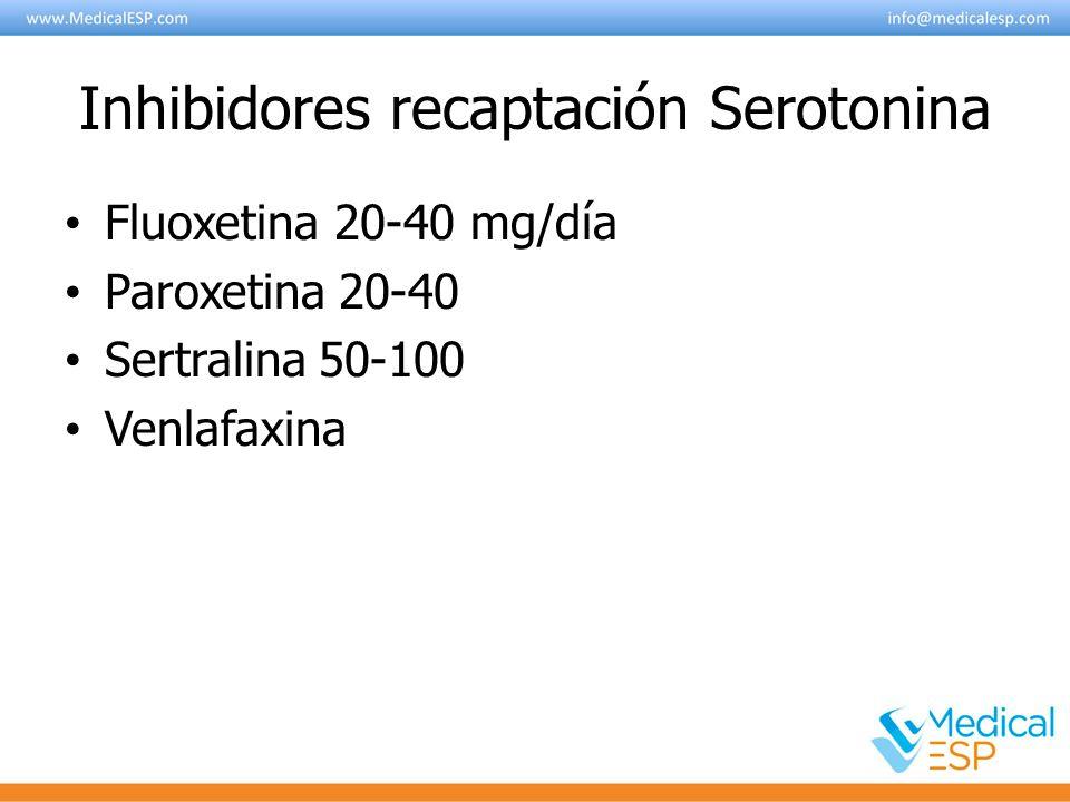 Inhibidores recaptación Serotonina Fluoxetina 20-40 mg/día Paroxetina 20-40 Sertralina 50-100 Venlafaxina