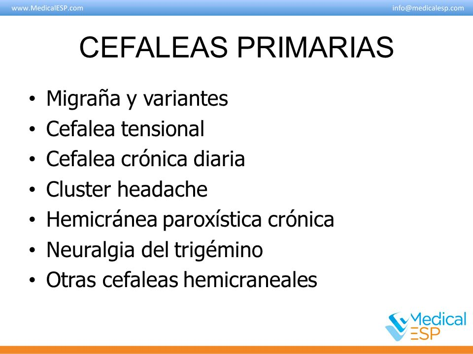 Tipos de Migraña Migraña sin aura Migraña con aura Síndromes periódicos de la infancia que pueden ser precursores o estar asociados a Migraña Migraña retiniana Complicaciones de la Migraña Migraña probable
