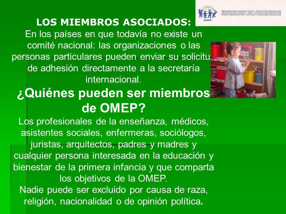LOS MIEMBROS ASOCIADOS: En los países en que todavía no existe un comité nacional: las organizaciones o las personas particulares pueden enviar su sol