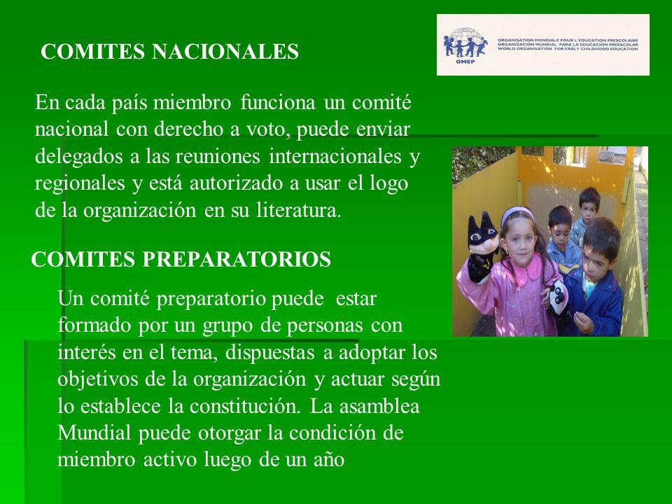 COMITES NACIONALES En cada país miembro funciona un comité nacional con derecho a voto, puede enviar delegados a las reuniones internacionales y regio