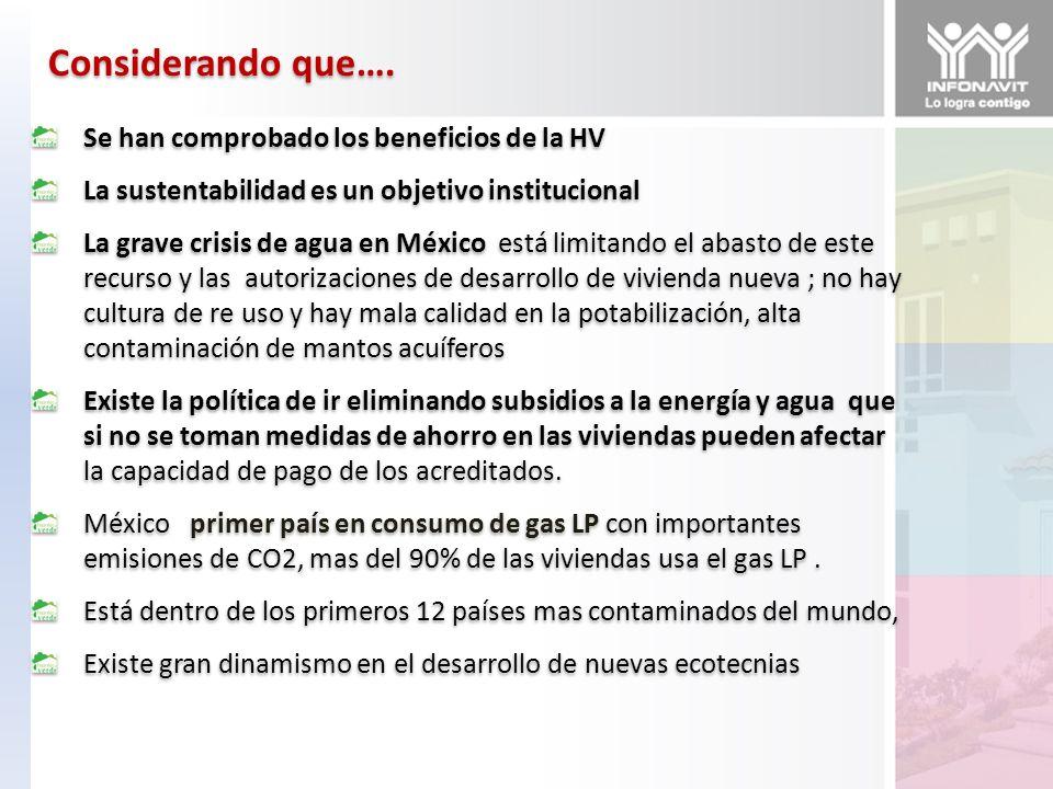 Considerando que…. Se han comprobado los beneficios de la HV La sustentabilidad es un objetivo institucional La grave crisis de agua en México está li