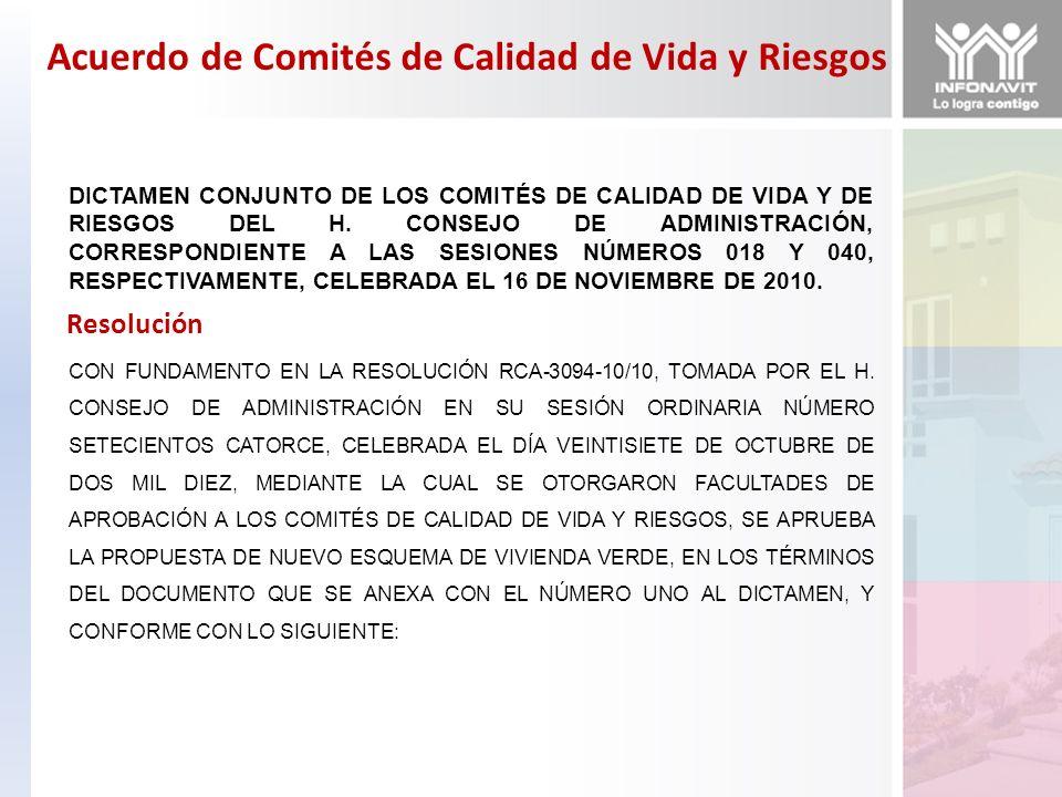 Acuerdo de Comités de Calidad de Vida y Riesgos DICTAMEN CONJUNTO DE LOS COMITÉS DE CALIDAD DE VIDA Y DE RIESGOS DEL H. CONSEJO DE ADMINISTRACIÓN, COR
