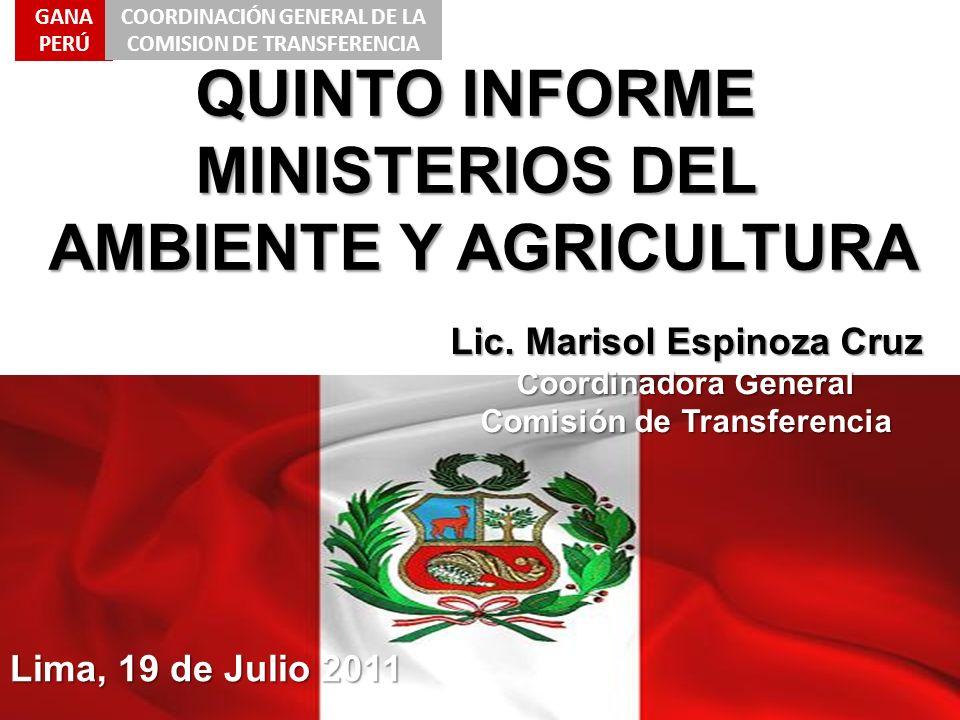 QUINTO INFORME MINISTERIOS DEL AMBIENTE Y AGRICULTURA Lic. Marisol Espinoza Cruz Coordinadora General Comisión de Transferencia Lima, 19 de Julio 2011