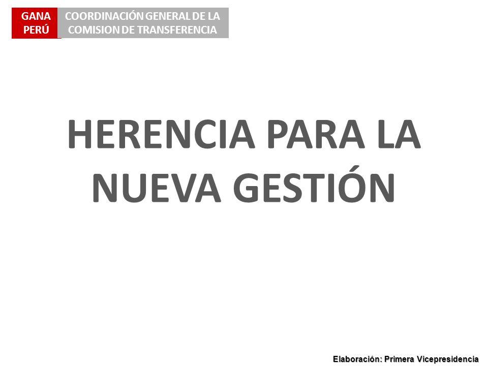 GANA PERÚ COORDINACIÓN GENERAL DE LA COMISION DE TRANSFERENCIA Elaboración: Primera Vicepresidencia HERENCIA PARA LA NUEVA GESTIÓN