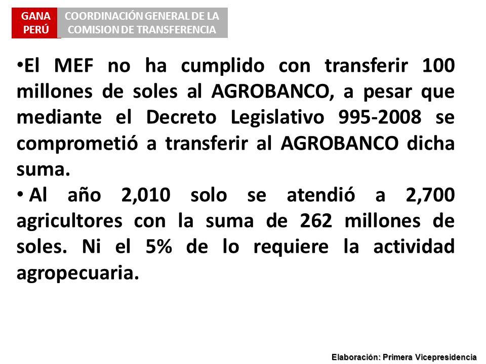 GANA PERÚ COORDINACIÓN GENERAL DE LA COMISION DE TRANSFERENCIA Elaboración: Primera Vicepresidencia El MEF no ha cumplido con transferir 100 millones