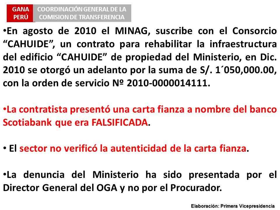 GANA PERÚ COORDINACIÓN GENERAL DE LA COMISION DE TRANSFERENCIA Elaboración: Primera Vicepresidencia En agosto de 2010 el MINAG, suscribe con el Consor