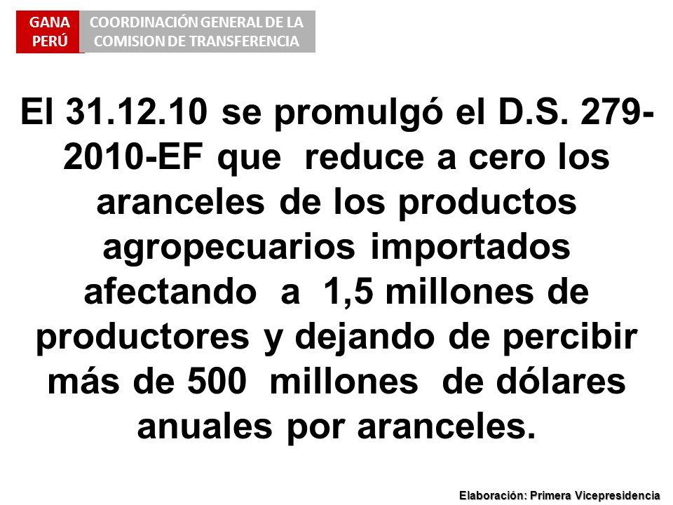 GANA PERÚ COORDINACIÓN GENERAL DE LA COMISION DE TRANSFERENCIA Elaboración: Primera Vicepresidencia El 31.12.10 se promulgó el D.S. 279- 2010-EF que r