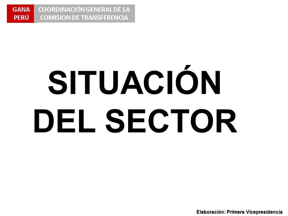 GANA PERÚ COORDINACIÓN GENERAL DE LA COMISION DE TRANSFERENCIA Elaboración: Primera Vicepresidencia SITUACIÓN DEL SECTOR